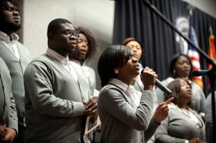 Mississippi State's Black Voices Gospel Choir, pictured performing at the university's annual Martin Luther King Jr. Day Unity Breakfast, will host its fall concert Nov. 21 in Colvard Student Union's Bill R. Foster Ballroom. (Photo by Megan Bean)