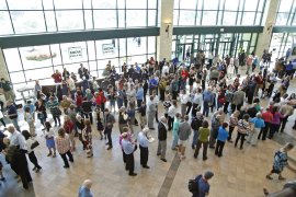 PLANO, TX - OCTOBER 18: The public lines up more than two hours ahead of time to get seats in the audience for the North Texas Presidential Forum at the Prestonwood Baptist Church in October 18, 2015 in Plano, Texas. Republican Presidential candidates were invited to address the audience for 10 minutes, followed by a 10 minute discussion with Dr. Jack Graham, pastor of Prestonwood Baptist Church. (Photo by Stewart F. House/Getty Images)