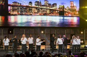 The Brooklyn Tabernacle Singers perform on stage at A Night of Celebration in NYC with David Jeremiah & Friends at Madison Square Garden on Thursday, Dec. 5, 2013.
